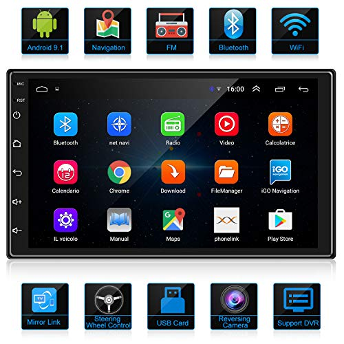 ANKEWAY Android 9,1 Autoradio 2 DIN GPS Navigation Car Radio Bluetooth/WiFi Car Stereo 7 Pollici 1080P HD Touch Screen 1G / 16G Car Multimedia Radio+WiFi Tethering Internet+Rear View Fotocamera