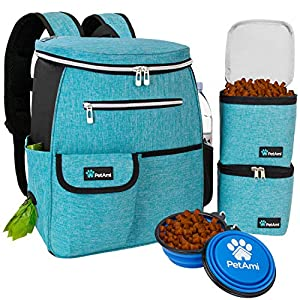 PetAmi Dog Travel Bag Backpack | Backpack Organizer with Poop Bag Dispenser, Pockets, Food Container Bag, Collapsible Bowl | Weekend Pet Travel Set for Hiking Overnight Camping Road Trip (Turquoise)