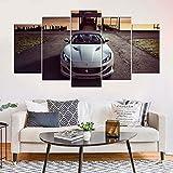VKEXVDR 5 Paneles Pintura de la Lona Mural Ferrar Sports Car Arte Fotos Paisaje Imprimir Decoración Moderna del Ministerio del Interior Sin Marco 200 * 100cm