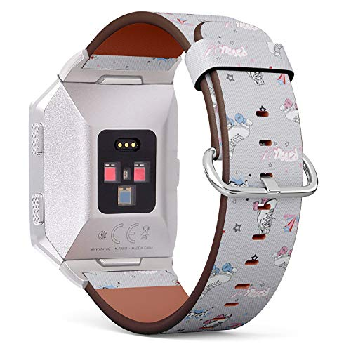 Art-Strap Kompatibel mit für Fitbit Ionic - Uhrenarmband Ersatzarmbänder Lederarmband mit Edelstahl-Verschluss und Adapter (Komische Rollschuhe)