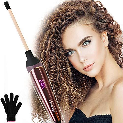 Novzep Lockenstab, 9mm LCD Thermostatischer Keramik Lockenstab,120 ℃-210 ℃ Profi Kleine Lockenstab mit Handschuh, Konstanttemperatur Technologie für alle Haarlängen geeignet