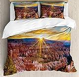 Juego de Funda nórdica del Parque Nacional Zion, Foto de Sun Rising Above Horizon con Rays Over Bryce Canyon Panorama, Juego de Cama Decorativo de 3 Piezas con 2 Fundas de Almohada, Multicolor