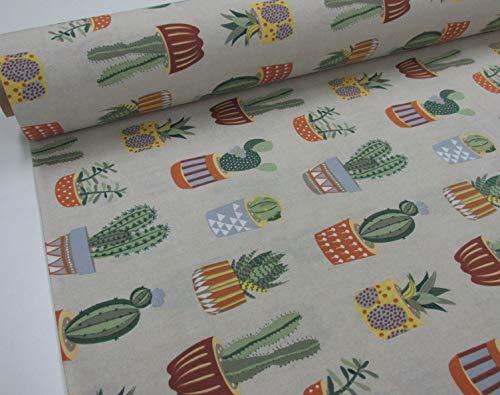 Confección Saymi Metraje 0,50 MTS Tejido loneta Estampada Ref. Cactus, con Ancho 2,80 MTS.