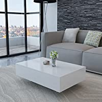 Festnight Mesa de Centro Moderno Mesa Auxiliar de Salon Blanca 85 x 55 x 31 cm