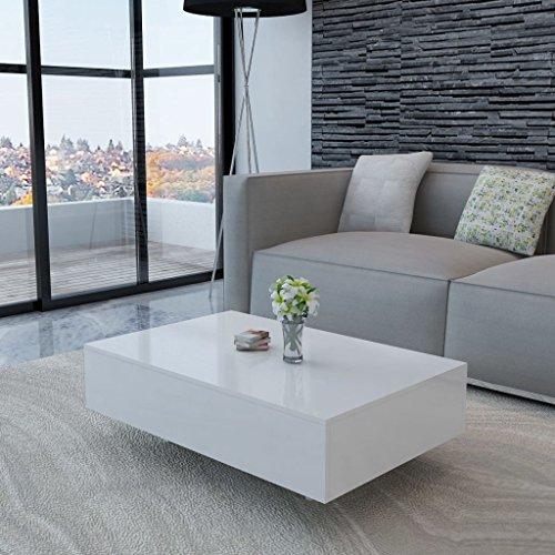 Festnight Mesa de Centro Moderno y Elegante Mesa Auxiliar de Salon Blanca Hecha de MDF 85 x 55 x 31 cm