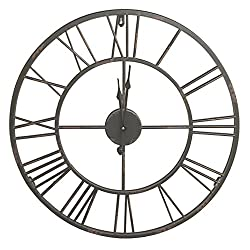 HDC International Round Decorative Metal Distressed Iron Roman Numeral Clock Quartz Movement 16 x 16 x 1 Inches.0111