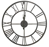 HDC International Round Decorative Metal Distressed Iron Roman Numeral Clock Quartz Movement 16 x 16 x 1 Inches.0111