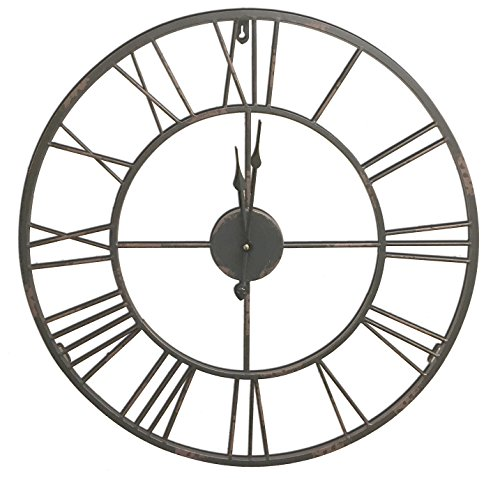 HDC International Round Decorative Metal Distressed Iron Roman Numeral Clock Quartz Movement 24 x 24 x 1 Inches.0100