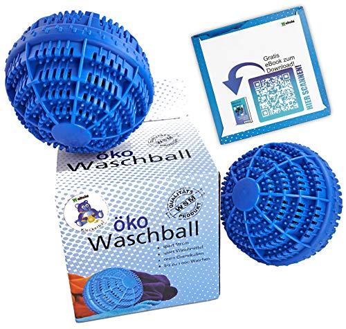 Waltola Lot de 2 balles de lavage écologiques pour machine à laver avec des boules en céramique et un eBook (DE) Bleu