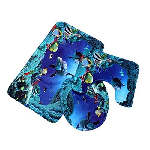 Antrae Set tappeti Bagno Antiscivolo - 3 Pezzi Set tappetini Bagno Sea World Tappetino da Bagno + piedistallo + Tappetino coprivaso