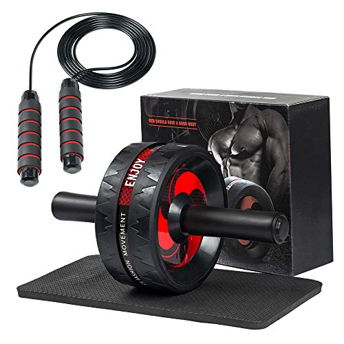QBSM Ab Roller Wheel - 3-in-1 Ab Wheel Roller with Knee Mat and Adjustable Jump Rope - Ab Roller Wheel for Abdominal Exercise - Ab Workout