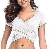 YEBIRAL Sexy Oberteil Damen V-Ausschnitt Kurzarm Shirt Wickelbluse Push up Sommer Oberteil Bauchfrei Tops Einfarbig T-Shirt(EUR-40/CN-L,Weiß)