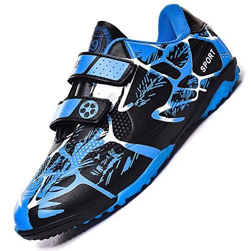 Unitysow Botas de Fútbol Niños Aire libre deporte Cesped Artificial Zapatillas de Futbol Adolescentes Training Zapatos de Fútbo,Azul,30 EU