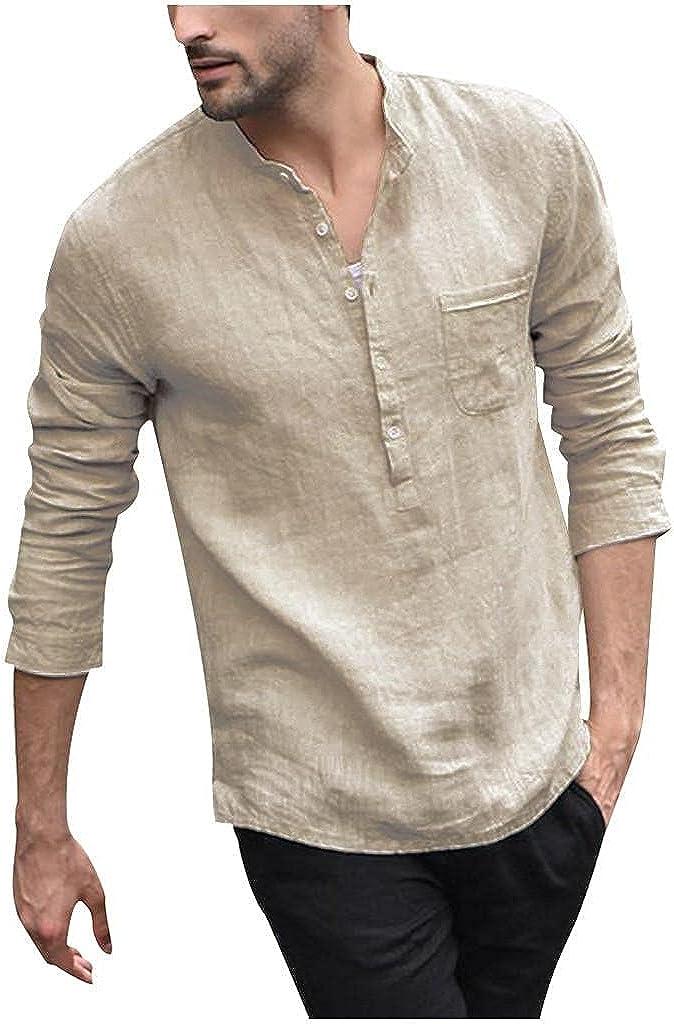 Aayomet Men's Cotton Linen Shirts Solid Long Sleeve Button Down T-Shirt Yoga Loose Sport Beach Tee Shirts Tops Blouses