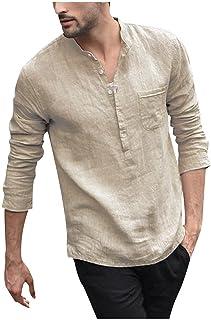 Vintage Shirts for Men Linen Long Sleeve Henley Shirt Autumn Slim Fit T Shirt V Neck Solid Casual Beach Tops Blouse
