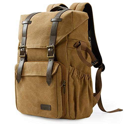 "Camera Backpack, BAGSMART Camera Bag Anti-Theft DSLR SLR Canvas Backpack Fit up to 15"" Laptop with Rain Cover, Tripod Holder for Women and Men,Khaki"