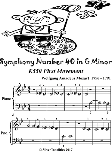 Symphony Number 40 in G Minor K550 First Movement Beginner Piano Sheet Music (English Edition)