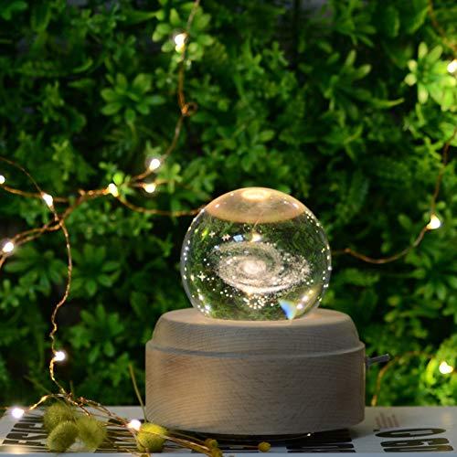 GKJRKGVF Gondel bedlampje Galaxy kristallen bol van hout, nachtlampje kan de lamp draaien