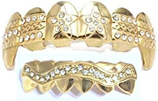 Big Dawgs Bling Hip Hop 14K Gold Plated Mouth Teeth Fangs Grillz Set L029G