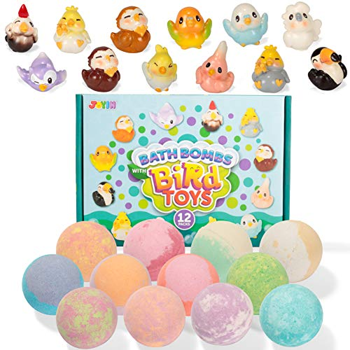 Bath Bombs with Bird Toys for Kids, 12 Packs Bubble Bath Bombs with Surprise Toy Inside (Cute Birds Figures), Natural Essential Oil SPA Bath Fizzies Set, Kids Safe Birthday Gift for Boys and Girls