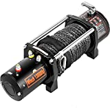 VEVOR Electric Winch 13000Ibs Truck Winch Compatible with Jeep Truck 65ft/ 20m Synthetic Rope Black 12V Power Winch with Wireless Remote Control Powerful Motor for ATV UTV Wrangler Accessories