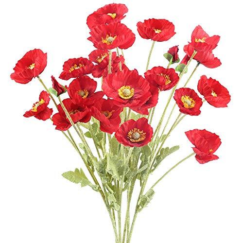 Flores falsas artificiales, flores de plástico faux ramo, jardín decoracion de boda, 6 unids amapolas artificiales rojas de seda falsas flores flores de amapola de maíz faux flores con 4 cabezas de fl
