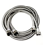 2-Pack Premium Stainless Steel Washing Machine Hoses - 6 FT No-Lead Burst Proof Water Inlet Supply Lines - Universal Connection - 10 Year Warranty