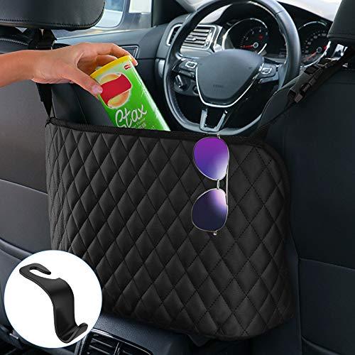 Car Seat Storage and Handbag Holding Net Hanging Storage Bag Between Car Seats with 1PCS Car Seat Headrest Hooks, Barrier of Backseat Pet Kids, Cargo Tissue Purse Holder