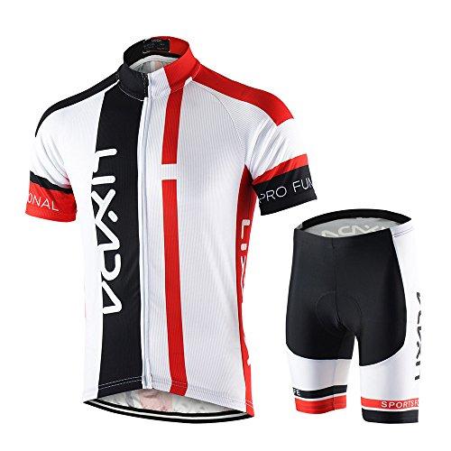 Lixada Abbigliamento Ciclismo Uomo Set Camicia da Ciclismo a Maniche Corte Traspirante Quick-Dry e Pantaloncini Imbottiti in Gel Set Abbigliamento da Ciclismo MTB (Rosso, L(EU)=175-180CM,70-80kg)