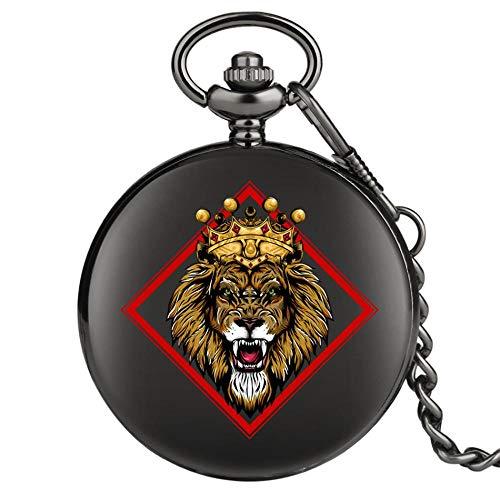LEYUANA Crown Lion Design Punk Black Pocket Watch, Movimiento de CuarzoFob Colgante Reloj Reloj Antiguo Regalos Hombres Mujeres B