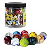 My Toy House Shooter Glass Marbles with Marble Jar For Storage, Set of 12, 1-inch, Assorted Colors