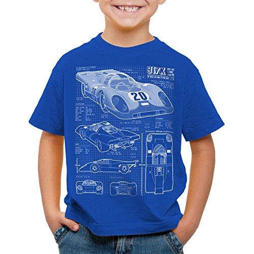 style3 917K Blaupause Kinder T-Shirt Le Mans, Farbe:Blau;Größe:128