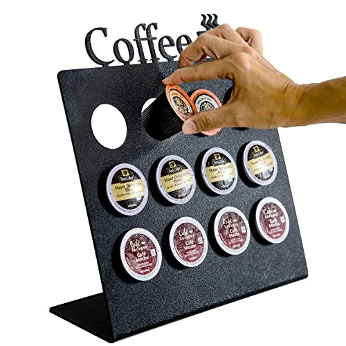 Source One Deluxe Acrylic Coffee Pod Organizer Stand Available in Black, Clear & White (Black)