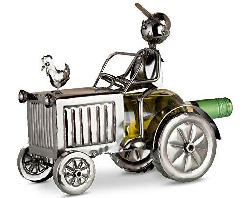 GILDE Flaschenhalter Traktor - vernickelte Figur aus Metall H 25 cm