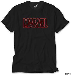 Avengers Infinity War Marvel Outline Logo Siyah Tişört