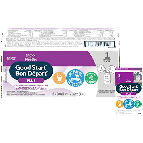 NESTLÉ GOOD START PLUS 1 Baby Formula, Concentrated Liquid, 0+ months, 240 ml, 18 Pack - PACKAGING MAY VARY