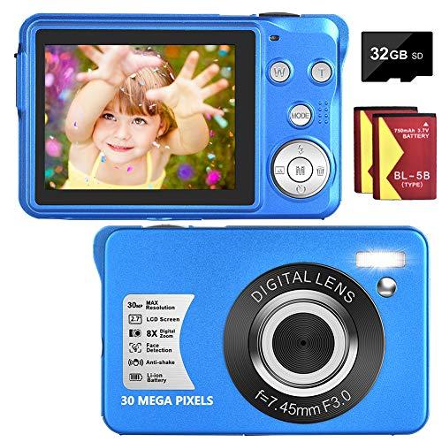 Appareil Photo Numérique 30 MP 1080P Appareil Photo Numérique Compact Mini Camera Compact Camera 8X Zoom Numérique 2.7 Pouces LCD Screen Appareil Photo pour Débutants (Bleu)