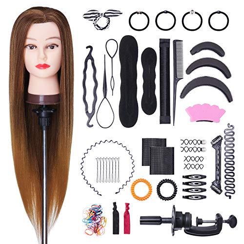 Têtes à Coiffer, BHUASANG 26-28Inch Tete a Coiffer 50% Vrais Cheveux Têtes dexercice pour le Salon Coiffeur Poupée avec Support + Ensemble de Tresse