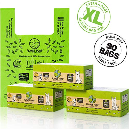 Compostable Dog Poop Bag, Cat Litter Box Clean-up, XL Pet Waste Bags with Handles on a Single Roll. Biodegradable Poop Bags for dogs, X-Large Grocery Size. Highest D6400 Pet Supplies Supports Rescues