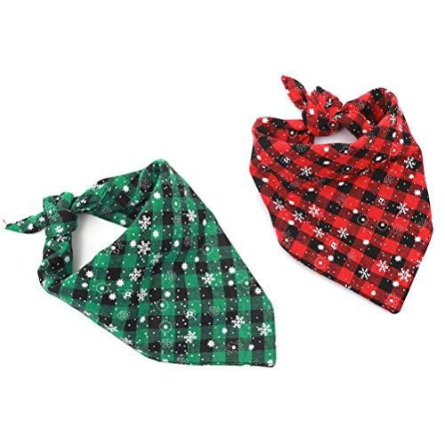 yiyiter Bandana Santa hond driehoek slabbetje hondenhalsband sjaal kat wasbaar hond kerst 2 stuks