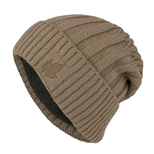 Longra Unisex muts Beanie Plus fluweel wollen muts eenkleurig, warm, gebreid, motief esdoornblad, wintermuts