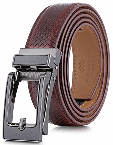 Marino Avenue Mens Genuine Leather Ratchet Dress Belt with Open Linxx Leather Buckle, Enclosed in an Elegant Gift Box - Tanager Linxx - Mahogany - Adjustable from 28' to 44' Waist