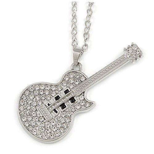 Avalaya Statement - Colgante de guitarra de cristal con cadena gruesa larga en tono plateado, 68 cm de largo