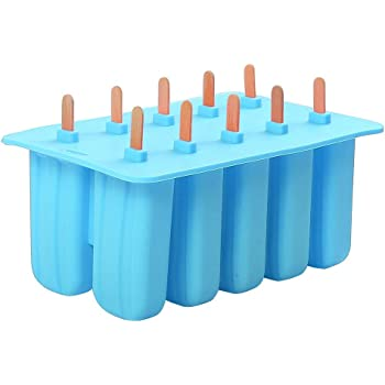Meerveil 10 Cell Silicone ice Lolly Mould with 10 Wooden Sticks, Popsicle Mould, Lollipop Mould, ice Cream Mould, ice Lolly Maker, Blue