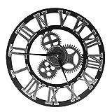 Nbrand - Orologio da parete con ingranaggio industriale, stile vintage, rotondo, 3D, numeri romani, orologio da parete, stile retrò, per soggiorno, decorazione da ufficio, colore: argento, 40 cm