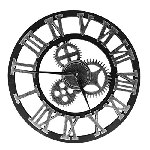Nbrand Wanduhr, Industriegetriebe, Vintage, rund, 3D, römische Ziffern, Retro-Wanduhr, für Wohnzimmer, Bürodekoration, silberfarben, 40 cm