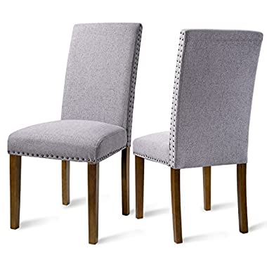 Merax PP036415 Set of 2 Fabric Dining Chairs with Copper Nails and Solid Wood Legs