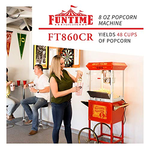 Product Image 3: Funtime FT860CR Antique Carnival-Style 8-Ounce Hot-Oil Popcorn Popper with Cart, Red