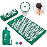 Photo Gallery amzdeal set tappetino agopressione, include tappetino per agopressione+ cuscino + borsa, per massaggi che alleviano i dolori a schiena e collo (verde)