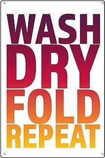 Poster mural en métal pour linge dégradé - Couleur rose, orange et jaune - Décoration murale pour buanderie ou buanderie -...
